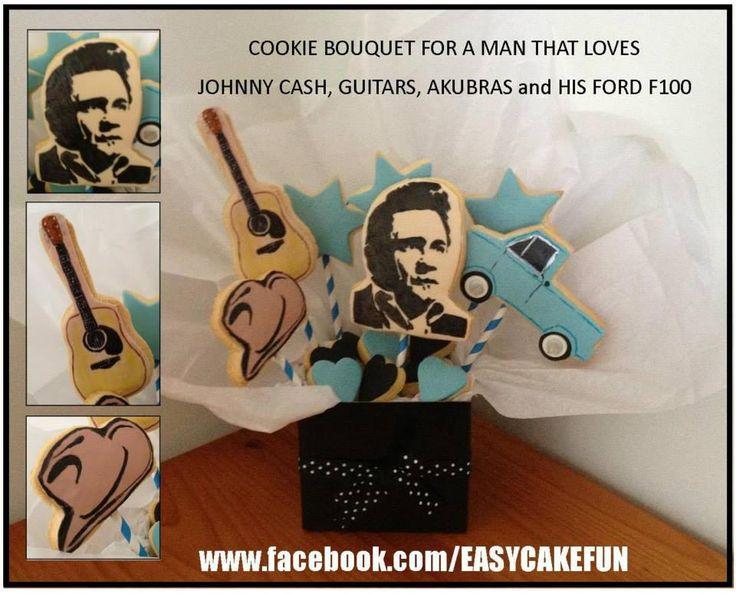Johnny Cash Cookie Bouquet! www.facebook.com/EASYCAKEFUN #johnnycash