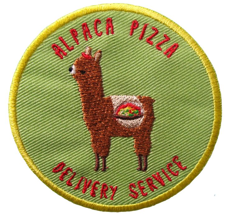 Alpaca Pizza Delivery Service Iron-on Patch
