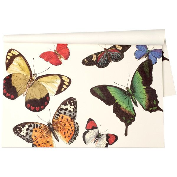 Butterflies Paper Placemats ($32) ❤ liked on Polyvore featuring home, kitchen & dining, table linens, paper placemats, ivory table linens, rectangular placemats, colorful placemats and cream placemats