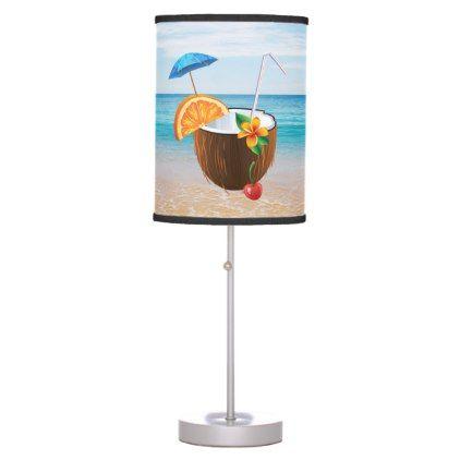 #personalize - #Tropical BeachBlue SkyOcean SandCoconut Coctail Desk Lamp