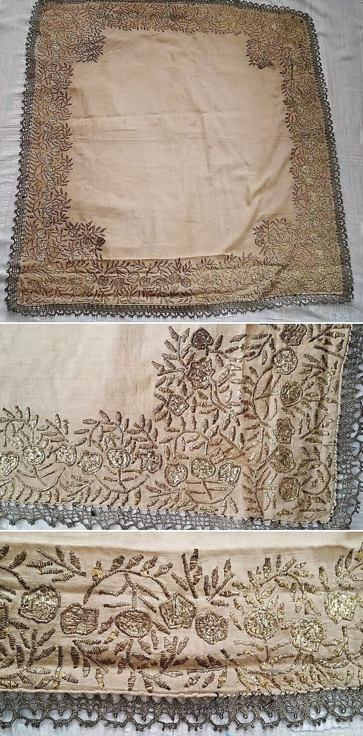 Embroidered 'çevre' (square kerchief; a decorative accessory) from Kozak Yaylası, near Bergama.  Late-Ottoman style, first half of 20th century.  A design of flowers and branches, in 'tel kırma'-technique (motives obtained by sticking narrow metallic strips through the fabric and folding them).  Edged with silvery Metal thread 'oya' (Turkish lace).  (Source: Tekin Uludoğan, Balıkesir).