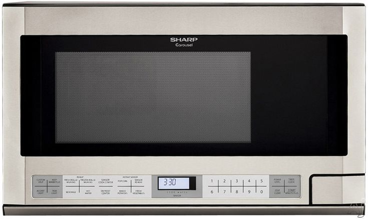 Sharp R1214T 1.5 cu. ft. Over the Counter Microwave Oven with 1,100 Cooking Watts, Defrost Center, Interactive Cooking System and Auto-Touch Control Panel: Stainless Steel