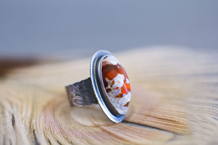 Mexican Raw Fire Opal Ring, Opal Sterling Silver Ring - Boulder Opal Ring - Collector Stone - Keeper of Secrets - Size 7.5 by jaunebleu on Etsy https://www.etsy.com/listing/286258431/mexican-raw-fire-opal-ring-opal-sterling