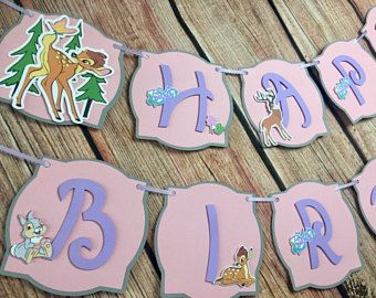 Bambi Personalized Banner/ cake topper/ paper straws/ cupcake toppers/ center piece/ welcome sign/ and more.