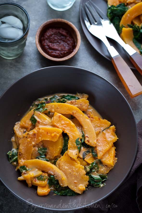 Butternut Squash and Chard in Spicy Coconut Sauce from gourmandeinthekitchen.com  |  Flavours of Kerala here!