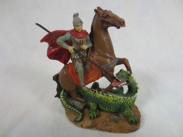 """Detailed Soldier KNIGHT in ARMOR KILLING a DRAGON Figurine, Roman, Inc 2001 ~3+"""""""