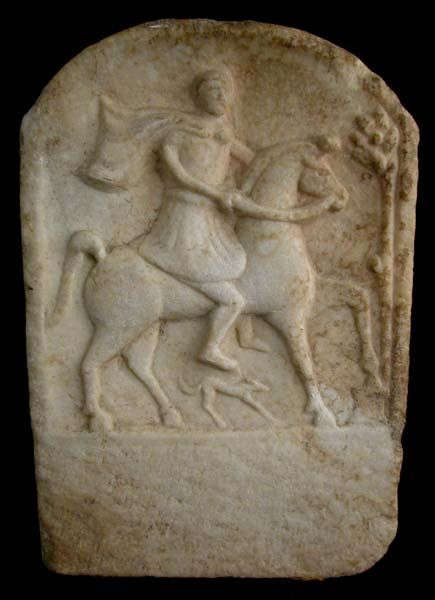 "Roman Marble Grave  Stele  Origin: Eastern Europe Circa: 100 AD to 400 AD Dimensions: 11.5"" (29.2cm)  high x 7.875"" (20.0cm) wide Collection: Classical Medium: Marble"