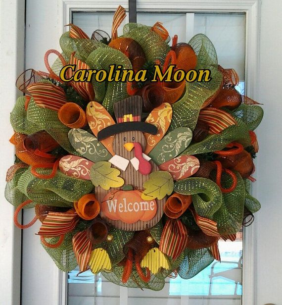 "Thanksgiving mesh wreath | Thanksgiving Turkey ""Welcome"" Wreath Sage Green Brown Orange Deco Mesh ..."