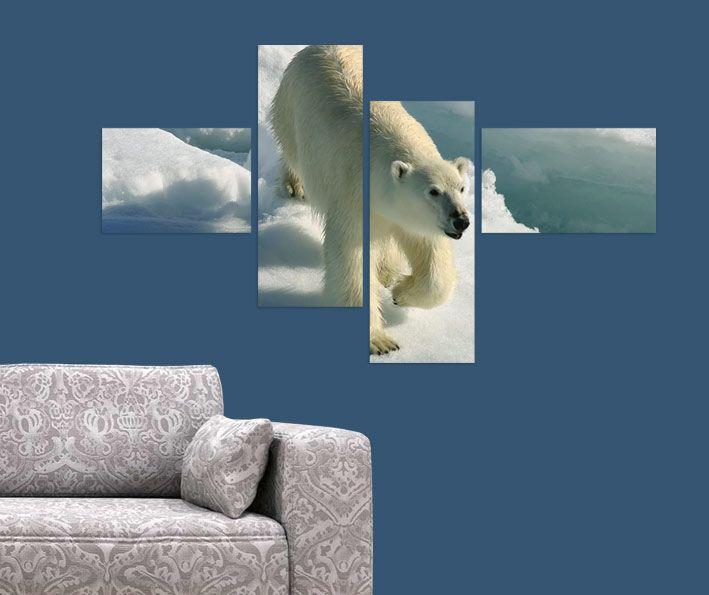 Kutup Ayısı Tablo 4 parçalı tablolar