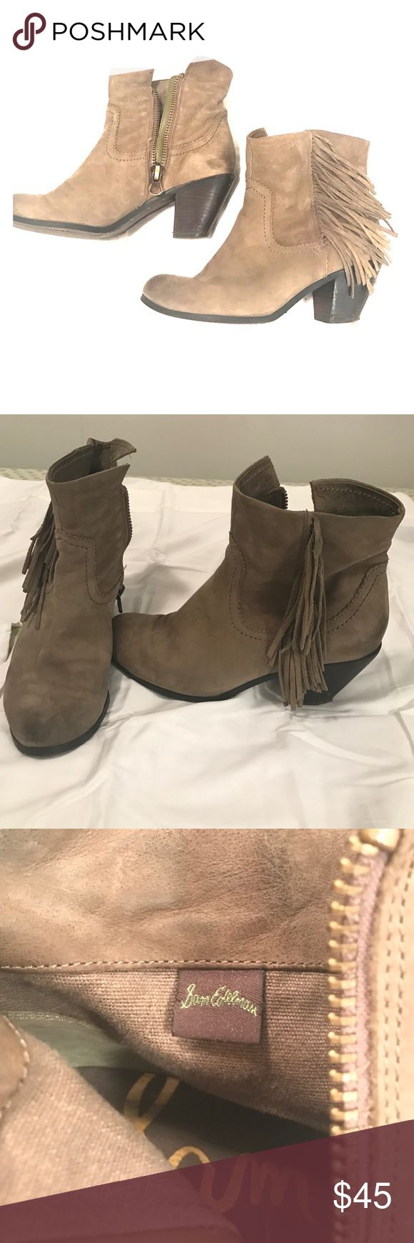 Sam Edelman Women's Fringed Louie Bootie Olive Such cute Sam Edelman boots with a fringe detail. Zip up to the ankle. Olive/khaki neutral color that goes with everything. Heel about 1.5 inches Sam Edelman Shoes Ankle Boots & Booties
