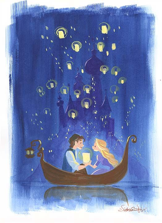 """""""By the Light of Lanterns"""" By Victoria Ying - Original Water Color on Paper, 11 x 8. #Disney #DisneyFineArt #Tangled #Rapunzel #VictoriaYing"""