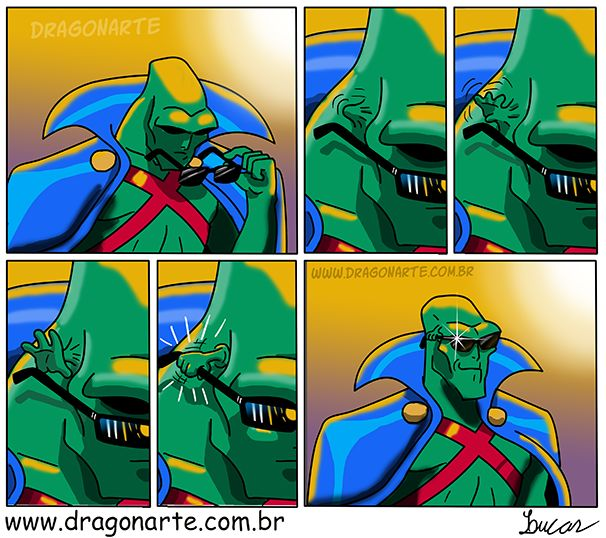 """""""Martian Manhunter's head hand finally grips his sunglasses and becomes superior with swag"""""""