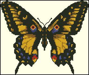 Golden Light Designs: Free Cross Stitch Chart - Yellow Butterfly