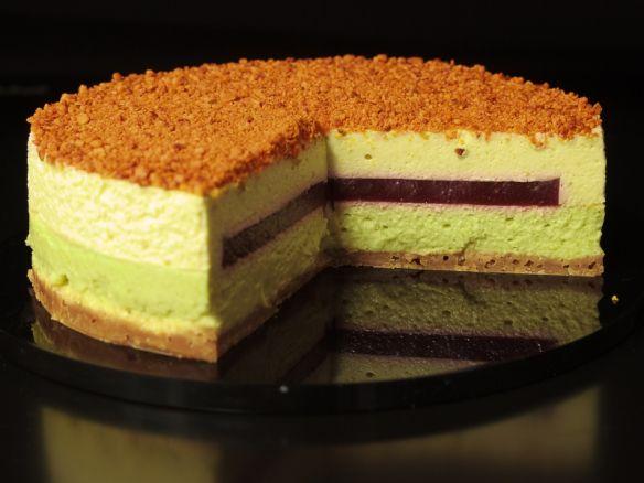 Mosaik Cheesecake mit Pistazien und Kirschen | Kochpoetin