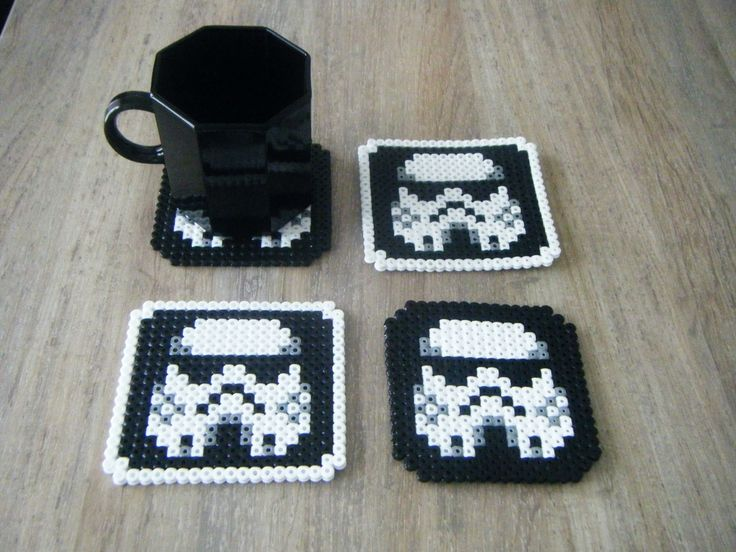 Lot de 4 sous verre Hama perles star -wars :