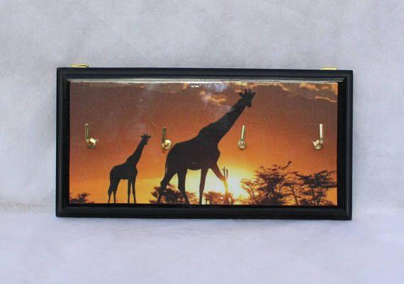 Giraffe sunset silhouette decoupage key rack