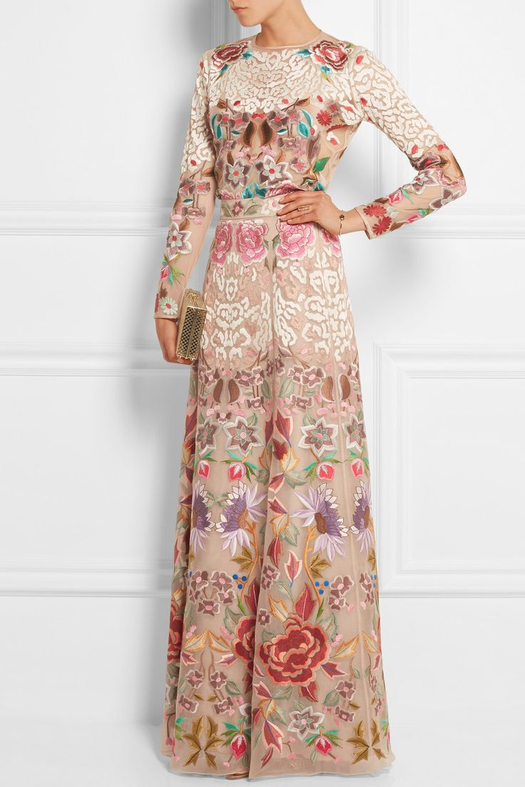 TEMPERLEY LONDON Baudelaire embroidered silk-organza maxi skirt