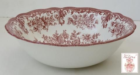Vintage English Red Toile Pink Transferware Vegetable Serving Bowl Cabbage Roses Daisies