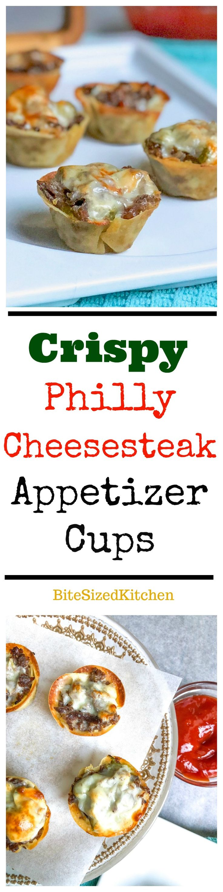 Easy, Tasty Game Day Appetizer! Crispy Philly Cheesesteak Appetizer Cups using wonton wrappers! The ideal football recipe!