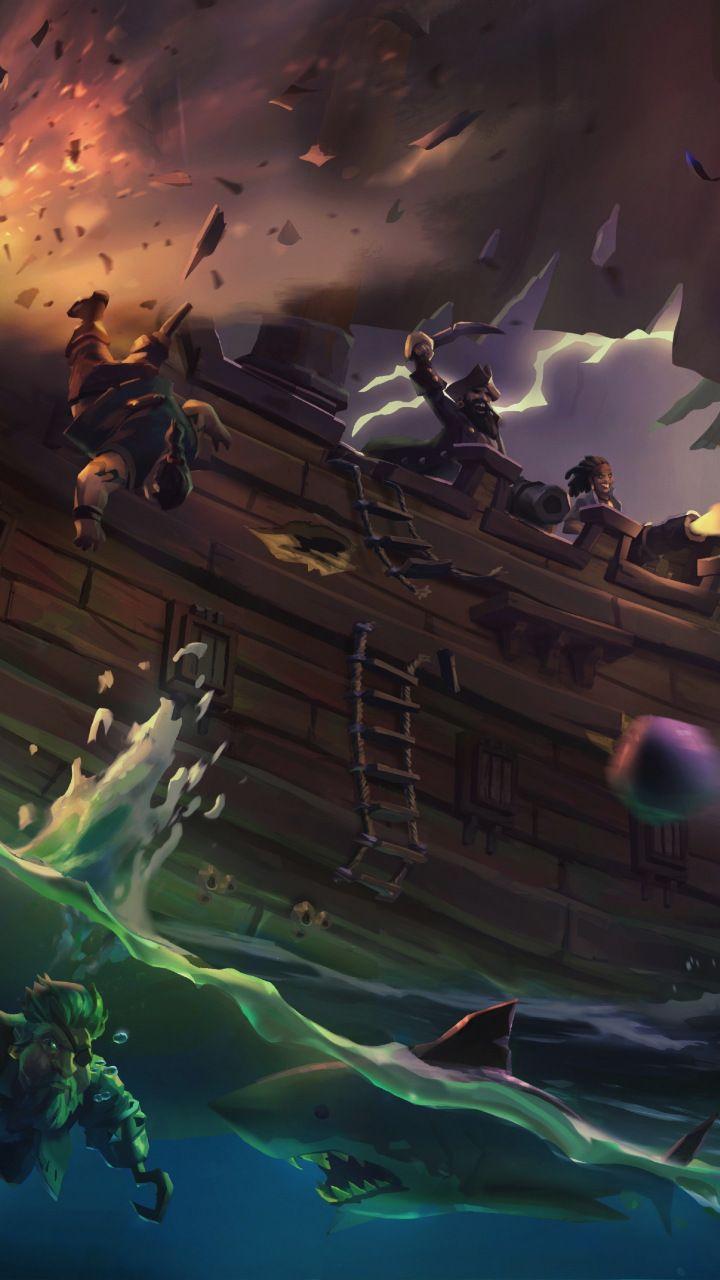 Sea of thieves, ship, pirates, video game, 720x1280