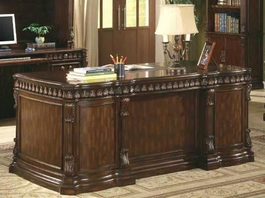 Awesome Dark Brown Large Solid Wood Executive Home Office Desk