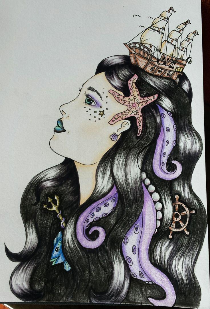 Portrait drawing sea