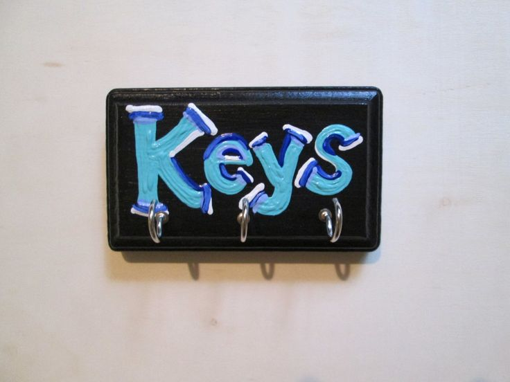 Hand painted key holder for wall - entryway key rack - key hook for wall, custom key holder by Posivibity on Etsy