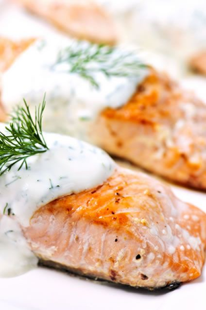 Oven Roasted Salmon with Cucumber Dill Sauce | Recipe