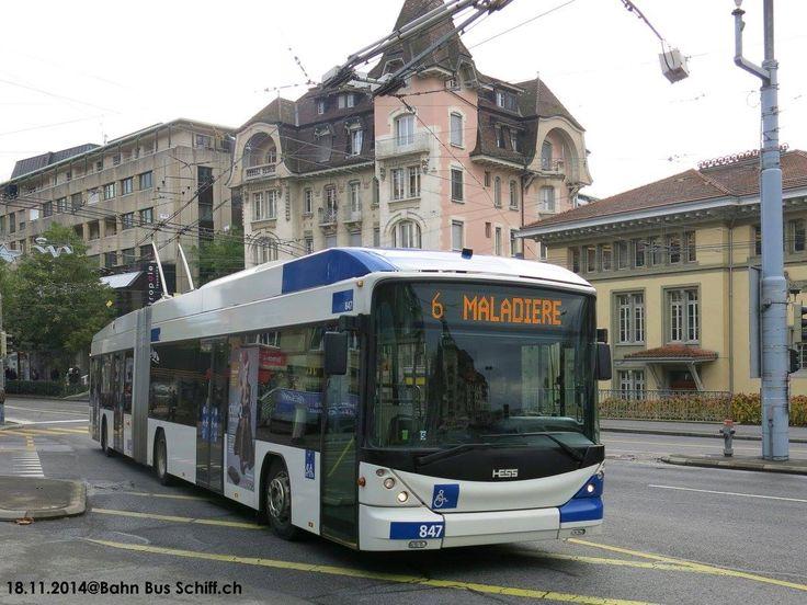 Hess Swisstrolley. Lausanne, Switzerland. Bahn Bus Schiff.ch. #electric #bus #trolleybus