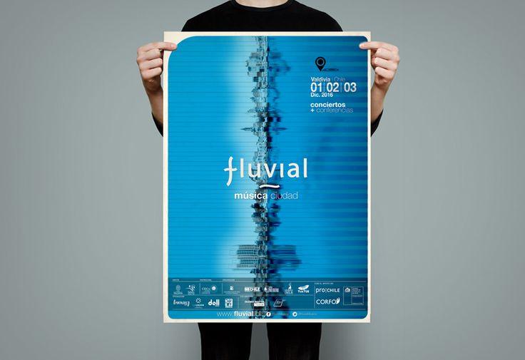 Diseño Afiche FESTIVAL FLUVIAL, MusicaCiudad. Valdivia, 2016.