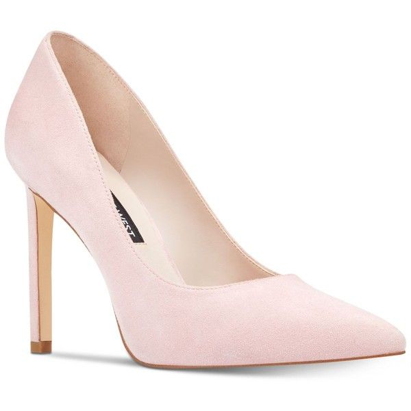 Nine West Tatiana Classic Pumps ($79) ❤ liked on Polyvore featuring shoes, pumps, pastel pink suede, suede pumps, suede leather shoes, nine west, pastel shoes and pastel pink pumps