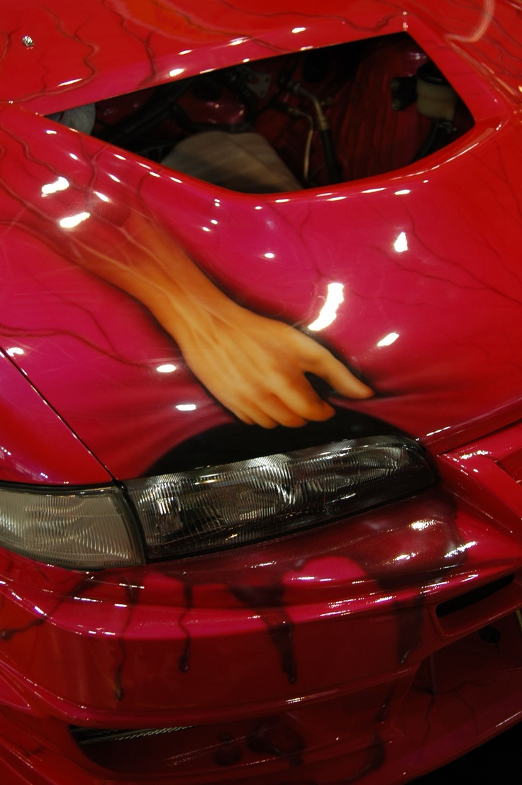 Airbrush on hood of a car...Show me your headlights!