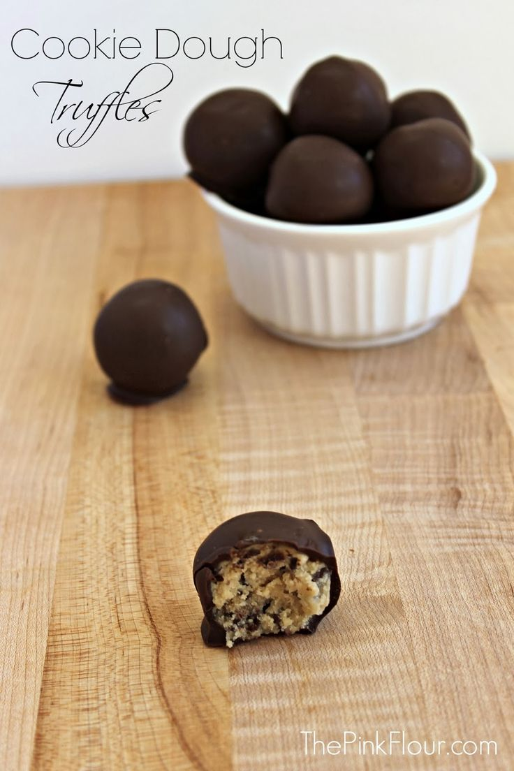 Cookie Dough Truffles - a quick and easy no-bake dessert that help you get your cookie dough fix without the eggs http://www.thepinkflour.com #cook...