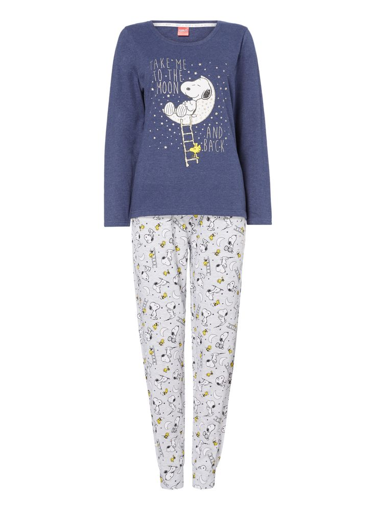 Make a Snoopy fan very happy with this cute pyjama set. Crafted in a rich cotton blend they showcase Snoopy print and pattern, with a touch of glitter detailing. Designed with a stretch waist and cuffed hems, these are a must-have for colder nights, while the pretty packaging makes them perfect for gifting. Navy Snoopy gift pyjama set Cotton rich Snoopy print Glitter detail Pattern Stretch waist Cuffed hems Model's height is 5'11'' Model wears a size 12