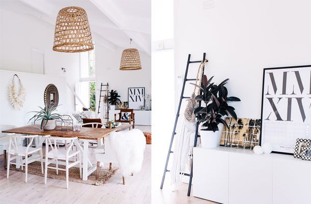 This charming home has a very detailed living area that is the perfect combination of Scandi-Boho chic. What we love about this space is the personal accents in the homeowner's decor. The end result is a fresh, clean space that makes this house look and feel like a home.