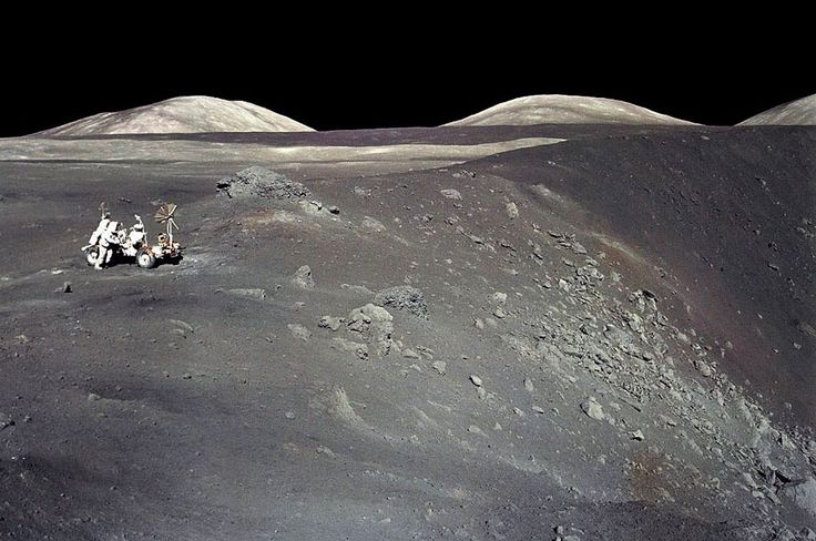 Apollo 17 at Shorty Crater - In December of 1972, Apollo 17 astronauts Eugene Cernan and Harrison Schmitt spent about 75 hours on the Moon in the Taurus-Littrow valley, while colleague Ronald Evans orbited overhead.