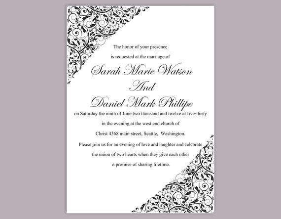 DIY Wedding Invitation Template Editable Download Elegant Printable Invitation Black Wedding Invitation Floral Invitation by TheDesignsEnchanted