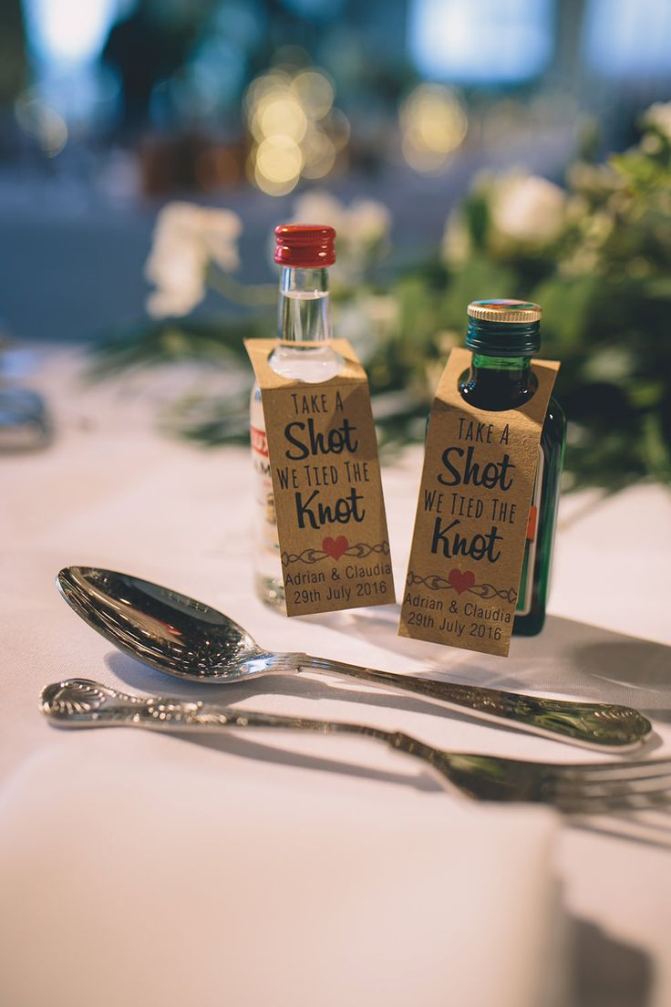 Miniture Alcohol Favours - Story   Colour Photography | Contemporary Wedding at Trinity Buoy Wharf | Luella's Bridal Boutique Nuria Gown | Jack Bunneys Prince of Wales Check Suit | Needle