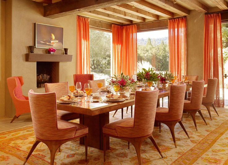 Best Images About Orange Dining Room Pinterest Trestle Table Retro Home Decor And