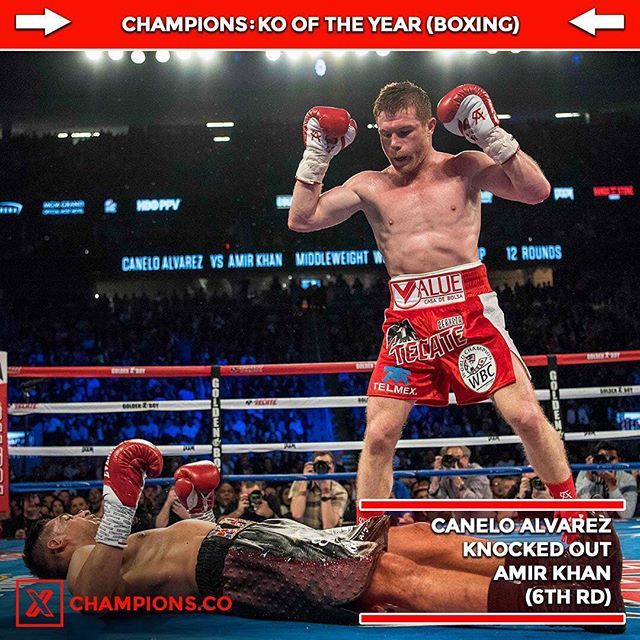 "With 2016 being over, Champions has selected their picks for ""End of the Year Awards"" for boxing and MMA. The first one is boxing knockout of the year. Canelo Alvarez's knock out of Amir Khan is our winner for 2016. What is your boxing knockout of the year??? #Boxing #mma #infographic #knockout #koty #caneloalvarez #amirkhan #fight #koty #foty #2016"