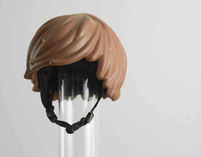Lego hair bicycle helmet.