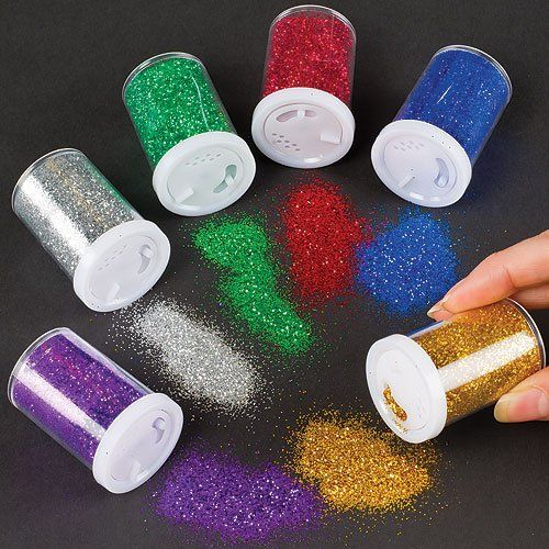 Glitter Shaker Tubes for Crafts and Card Decorations - Assorted Colours (Set of 6): Amazon.co.uk: Toys & Games
