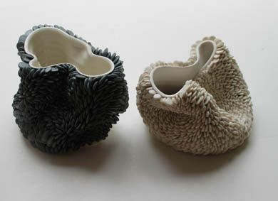 Fenella Elms - Flow Pots - Ceramic Art London...I love the shape and form of this ceramic work, also loved the texture she add on to it. the black and white really works with the photograph effect.