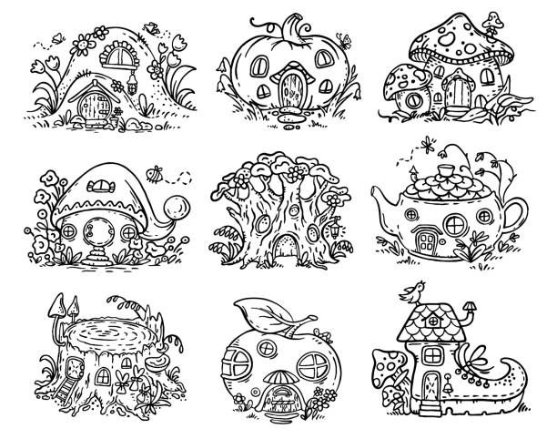 Cute Cartoon Elven Fairy Or Gnome Houses In The Form Of Pumpkin Tree Teapot Boot Apple Mushroom Stum Fairy Drawings Tree House Drawing Colorful Drawings