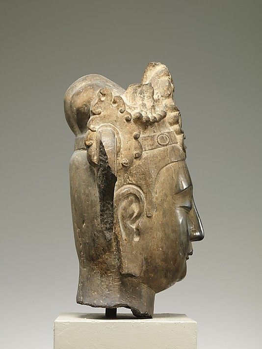 Head of an Attendant Bodhisattva Northern Qi dynasty ca. 565–75 China Limestone with pigment