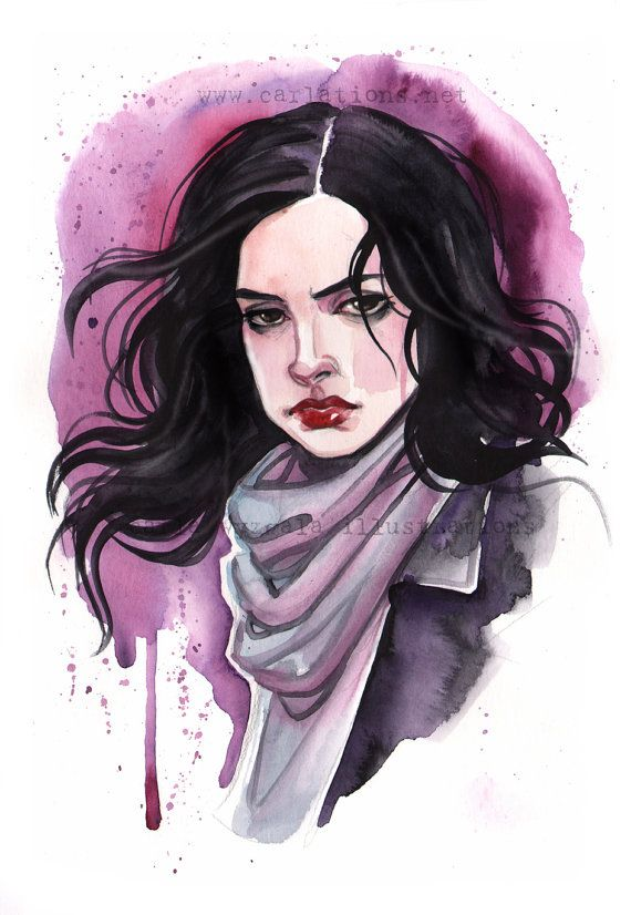 Jessica Jones Marvel Girls inspired watercolor by carlationsart