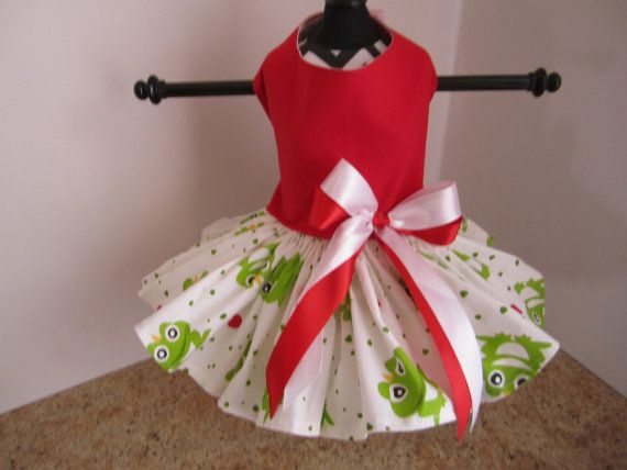 Dog Dress XSRed with Frogs By Nina's by NinasCoutureCloset