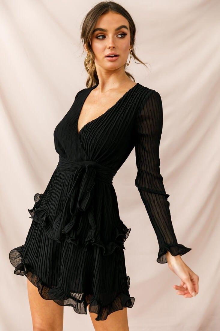 Greta Tiered Ruffle Chiffon Dress Black Print Long Sleeve Cocktail Dress Long Sleeve Chiffon Dress Black Ruffle Dress [ 1100 x 733 Pixel ]