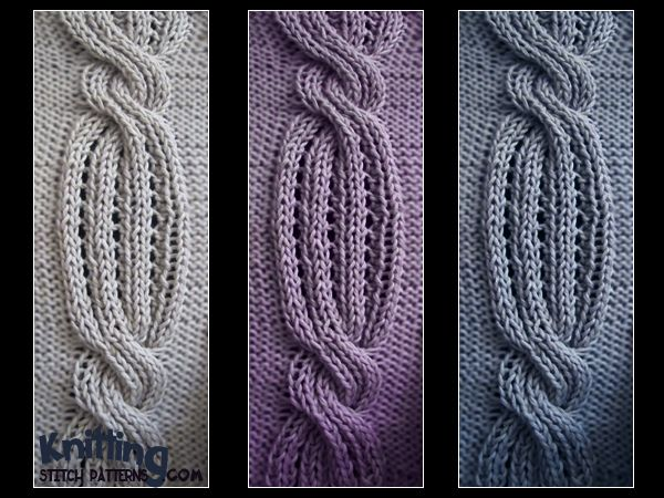 Swirling Cable stitch is a 36 row repeat and is knitted in a multiple of 16 sts + 2