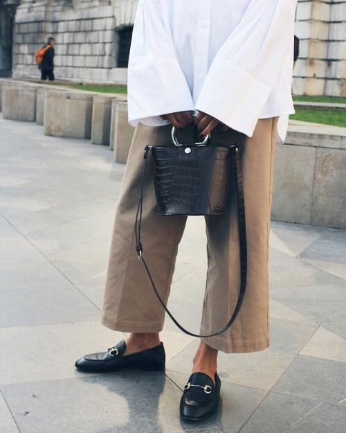 White button-down shirt with oversized bell sleeves, cropped wide-leg trousers, Gucci loafers and hoop handle bag | @styleminimalism